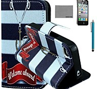 COCO FUN® Anchor Necklace Pattern PU Leather Case with Screen Protector and Stylus for iPhone 4/4S