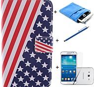 disegno della bandiera americana cuoio dell'unità di elaborazione caso corpo pieno con stilo e pellicola e astuccio morbido per Samsung Galaxy Grand 2