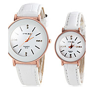 Couple's Round Dial PU Band Quartz Wristwatch