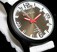 Women's Round Black Dial Silicone Black Band Fashion Water Resist Quartz Watch (Assorted Colors)