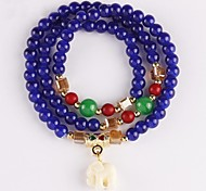 Vintage Elephant Charm Glass Strand Wrap Bracelets (1 pc, Red / Blue, Yellow)