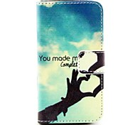 Finger Love Heart Design PU Leather Full Body Cover with Protective Film and Stylus for iPhone 4/4S
