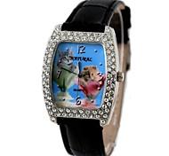 senhoras das mulheres Tonneau de moda em couro pulseira jóias relógio de quartzo (cores sortidas)