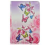 alta qualidade borboleta pintada flores rodada pu proteger coldre com suporte para iPad mini 1/2/3