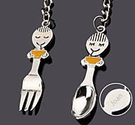 Personalized Engraving Tableware Spoon Metal Couple Keychain