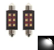 zweihnder festón 39mm 6w 550lm 6000-6500k 6xsmd 2323 llevó el bulbo de la luz blanca de la lámpara de lectura (12-24, 2 piezas)