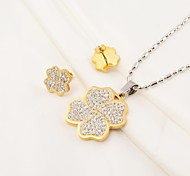 Fashion Full CZ Diamonds Inlaid 316L Stainless Steel Clover(Necklace&Earrings) Jewelry Set