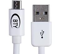 bty W108 usb macho para micro dados usb masculino / cabo de carregamento para Samsung / HTC / sony e mais (100cm)