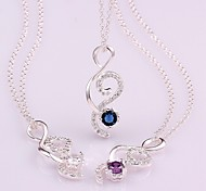 Plated Silver Fashion Zircon Necklaces (More Colors)
