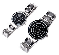 Couple's Analog Wrist Watch Personality Rotation of Dial Plate Stainless Steel Belt Design Quartz Watch (2pcs)