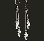 Fashionable Peach Heart-Shaped 925 Silver  Drop Earrings 1 Pair