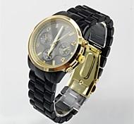 Women's Round Dial Plastic Band Quartz Watch Analog Fashion Wrist Watch Black With Sub-Dials for Decoration
