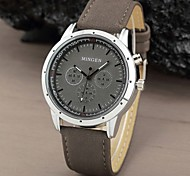 Men's Round Casual Military Dial Scrub Leather Band Sport Quartz Analog Watch  (Assorted Color)