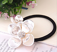Acrylic Double Flowers Fashion Style Rhinestone Hair Ties