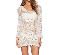 Women's Fashion Hollow Crochet Long Sleeve Swimsuit Swimwear Bikini Dress Beach Cover Up