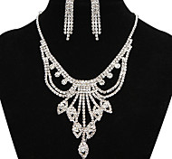 Fashion Pretty Fully Rhinestone Silver Copper Jewelry Set(1 Set)