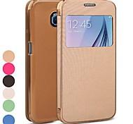 Samsung Handy - Samsung Samsung Galaxy S6 - Hüllen (Full Body) - Einfarbig ( Schwarz/Weiß/Grün/Blau/Rosé/Gold , PU Leder )