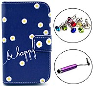 Be Happy Daisy Pattern PU Leather Case with Stylus and Dust Plug for Samsung Galaxy Fame S6810/S6818