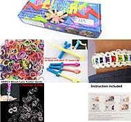 Kit di moda telaio color arcobaleno per il braccialetto diy (clip 600pcs bande + 1 confezione + 1 scheda telaio + 1 gancio)