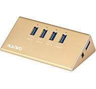MAIWO 4-Port USB3.0 USB HUB with Aluminum Material Golden color