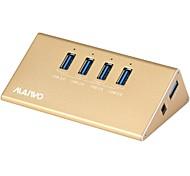 maiwo 4 puertos hub usb usb3.0 con aluminio color dorado materiales