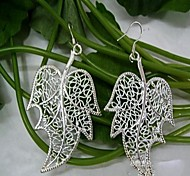 Beautiful Pierced  Fir Leafs-shaped Silver-Plated Drop Earrings 1 Pair