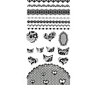 1PC 3D Black Nail Art Stickers Lace Nail Wraps Nail Decals Round Flower Heart Nail Polish Decorations