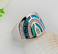 High Quality Fashion Blue opal Semicircular Ring