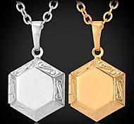 U7® Vintage Hexagonal Stars Frame Locket Pendant 18K Gold Plated Choker Necklace Charms Jewelry Unisex High Quality 22''