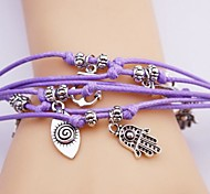 Alloy Palm And Eye Infinite Multilayer Handmade Leather Bracelet