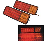 24V Vehicle Car Truck 30 LED Brake Stop Tail Rear Warning Light Lamp--Red Yellow (2pcs)