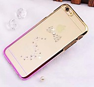 High Quality Vacuum Plating Laser Carving Rhinestone Series Bow PC Hard Case for iPhone 6 Plus