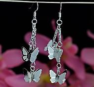 Fashionable Beautiful Silver 925 Drop Earrings of String of Butterflies  1 Pair