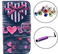 Love Gift Box Heart Pattern PU Leather Case with Stylus and Dust Plug for Samsung Galaxy S3/I9300