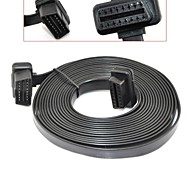 16.4Feet / 5Meter OBD 2 II 16 Pin Ultra Flat Low Profile Male to Female Extension Cable