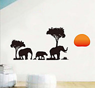 Environmental Removable Black Elephant Walking in the Dawn Pattern PVC Wall Sticker
