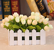 "6.1""L* 5""H Country Style Silk Cloth Roses in White Fence"