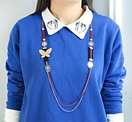 Hot Selling Multilayers Alloy Butterfly And Flower Chains Necklace