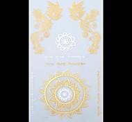 1PC Gold Tattoos Sun Flowder Temporary Tattoos Flash Tattoos Metallic Tattoos Wedding Party Tattoos(23.5*11cm)