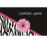 Business Cards 200pcs Black Pink Flower Black Zebra-stripe Pattern 2 Sided Printing of Fine Art Filmed Paper