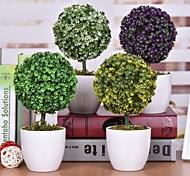 "3.9""L 9.8""H Snow Plants Ball in White Ceramic Basin"