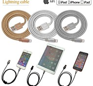 Aluminium alloy MFi Certified Lightning 8 Pin Data Sync and Charger USB Braid Cable for iphone 6/6plus/5s/5/ipad(100cm)