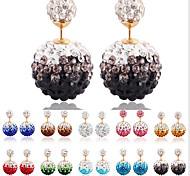 Korea Shinning Rhinestone Pearl Stud Earring(1pair)(More Color)