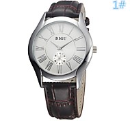 Men's Women's Leather Dress Watch Quartz Analog Water Resistant Rose Gold/Silver Case