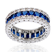 Size 6/7/8/9/10 High Quality Women Blue Sapphire  Rings 10KT White Gold Filled Ring
