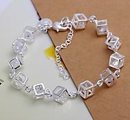 925 Silver Cube Zircon Charm Bracelet (1PC)