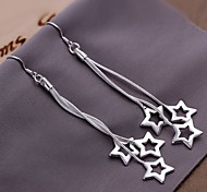 European Hollow stars 925 Silver Drop Earrings(2Pc)