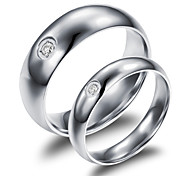 Fashion Set Auger Smooth Titanium Lovers Ring