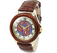 Women's Wood Gold Case Round Dial Brown Leather Band Quartz Wrist Watch Cool Watches Unique Watches