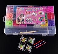 bandes de baoguang®loom bandes de couleur aléatoire réglés (4200pcs bandes de caoutchouc, les clips de quatre paquets, 1looms, trois crochets + 1Box)
